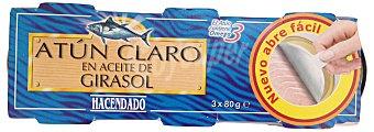 Hacendado Atun claro aceite vegetal girasol (abrefacil solapin) 3 latas (240 g - 168 g escurrido)
