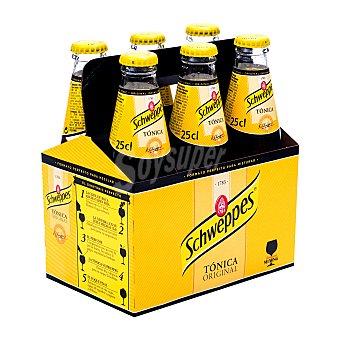 Schweppes Tónica clásica Pack 6 botellines 25 centilitros