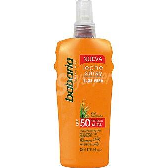 BABARIA leche solar de aloe vera FP-50 hidratación activa  frasco 200 ml