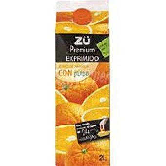 Premium Zumo de naranja exprimido con pulpa ZÜ Brik 2 litros