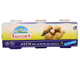 Salvora Atún en aceite de oliva Lata de 52 g. pack de 3