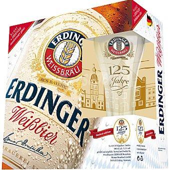 Erdinger Cerveza rubia de trigo alemana Edición Especial 125 aniversario pack 5 botella 50 cl + vaso de regalo Pack 5 botella 50 cl