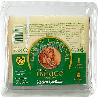 Gran Cardenal Queso ibérico curado con leche de oveja, vaca y cabra recién cortado cuña 250 g 250 g