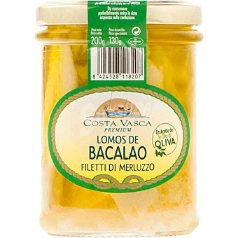 COSTA VASCA Lomos de bacalao en aceite de oliva Tarro 130 g neto escurrido