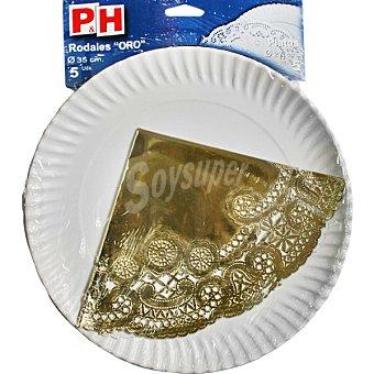 P & H Rodal color oro 35 con plato de cartón 27 cm estuche 5 unidades Estuche 5 unidades