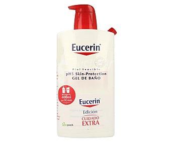 Eucerin Gel de baño para pieles sensibles cuidado extra Pack 1 litro + 400 mililitros de regalo
