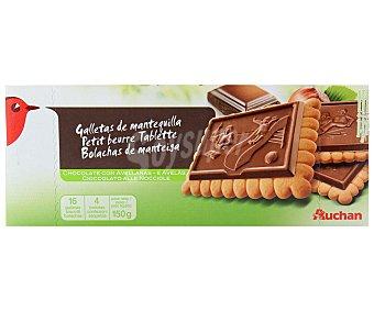 Auchan Galletas de mantequilla con tableta de chocolate con leche y avellanas 150 gramos