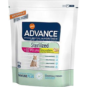 ADVANCE STERILIZED Alimento de alta gama para gatos esterilizados de + 10 años con pollo y cebada Bolsa 1,5 kg