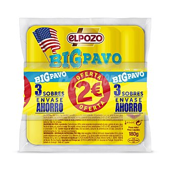 ElPozo Salchichas grandes de pavo Pack 3 x 180 g