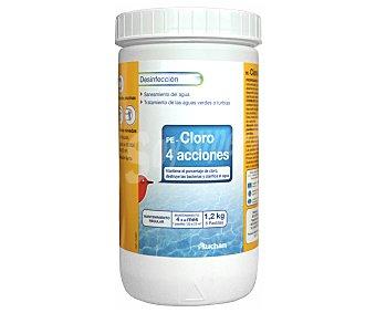 AUCHAN Tratamiento 4 Funciones (Desinfectante, algicída y antical) en tabletas de 200 Gramos 1,2 Kilogramos
