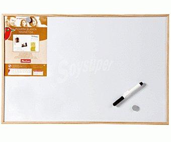 Auchan Pizarra mágnetica de color blanco, con marco de madera y medidas de 60 x 40 centímetros auchan 60x40cm
