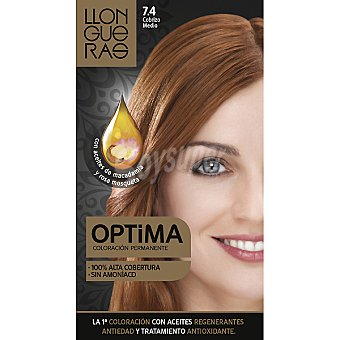 LLONGUERAS tinte Optima cobrizo medio nº 7.4 coloración permanente con aceites regenerantes anti-edad  caja 1 unidad