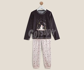 In Extenso Pijama largo para niña velour, talla 3
