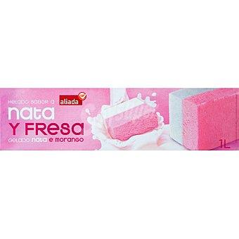 ALIADA Bloque de helado sabor nata y fresa estuche 1000 ml