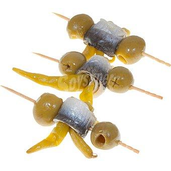 Aperitivos La Real Pinchos variedad Gilda de aceitunas seleccionadas con boquerón, piparra y aceite de oliva 100 gramos