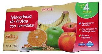 HACENDADO Tarrito macedonia de frutas con cereales a partir de 4 meses 2 unidades de 200 g