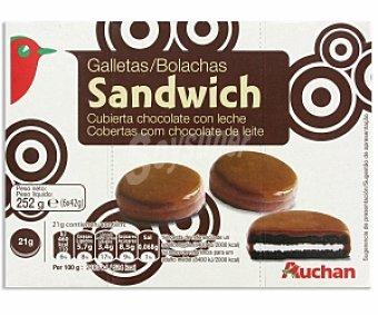 Auchan Galleta Sándwich cubierta con chocolate con leche 252 Gramos
