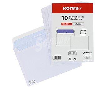Kores Paquete de 10 sobres de tamaño 162 x 229 mm, peso de /m² y de color blanco kores 90 g