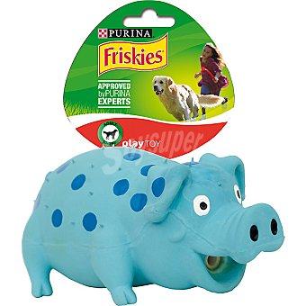 Purina Friskies Juguete para perros modelo cerdito azul 1