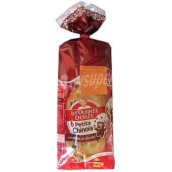 LA FOURNEE DOREE brioche minis rellenos de crema con pepitas de chocolate bolsa 300 g 6 unidades