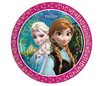 Disney Platos llanos desechables de cartón con diseño Frozen Pack de 8 unidades