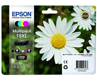 Epson Cartuchos para Impresoras multipack Nº 18XL Margarita Compatible con impresoras : XP-30 /XP-102 / XP-202 / XP-205 / XP-212 / XP215 / XP 302 / XP-305 / XP-312 / XP-315 / XP-402 / XP.405 /XP-412 / XP-415