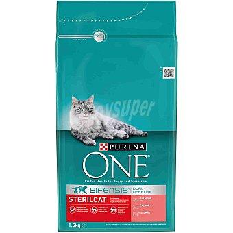 Purina One Pienso para gatos adultos esterilizados Bifensis salmón y trigo Bolsa 1.5 kg