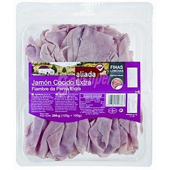 Aliada Jamón cocido extra finas lonchas sin gluten envase 200 g (100 g+100 g) Envase 200 g