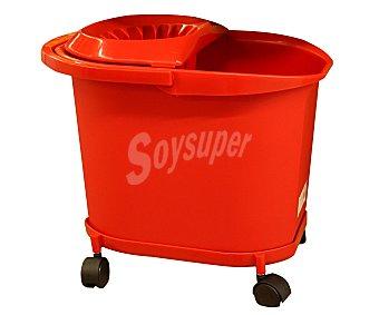 DENOX Cubo de fregar con escurridor y ruedas de color rojo, capacidad 16 litros 1 unidad