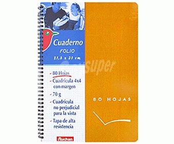 Auchan Cuaderno DIN A4 con cuadricula de 4x4 milímetros, margen izquierdo, 80 hojas de 70 gramos, tapas duras de color naranja y microperforado con encuadernación con espiral metálica 1 unidad