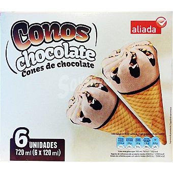 Aliada Cono helado sabor chocolate 6 unidades estuche 720 ml 6 unidades