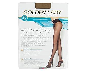 GOLDEN LADY Bodyform Panty transparente efecto moldeante, 20 den, color visón, talla M.
