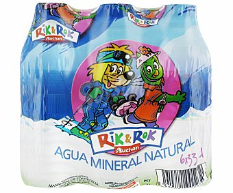Rik&Rok Auchan Botellas de agua mineral con tapón sport Pack de 6 unidades de 33 centilitros