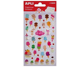 APLI Bolsa con una hoja de pegatinas de epoxy con formas de helados de diferentes tamaños y tipos APLI