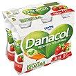 Leche fermentada desnatada con edulcorantes, esteroles vegetales añadidos y sabor a fresa 6 x 100 g Danacol Danone
