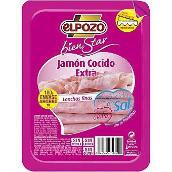 ElPozo jamón cocido extra bajo en grasa en lonchas finas Bienestar envase 180 g