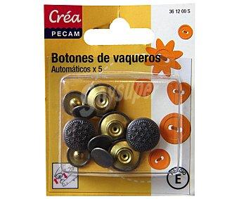 STYLE Pack de 5 botones para vaqueros, color plata 1 Unidad