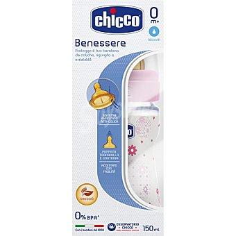 Chicco Biberon Benessere rosa de 150 ml con tetina de caucho de flujo regular caja 1 unidad 150 ml