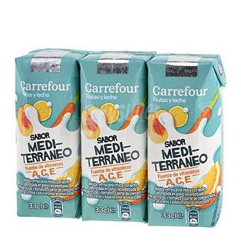 Carrefour Zumo c/leche Mediterraneo Pack de 3x33 cl