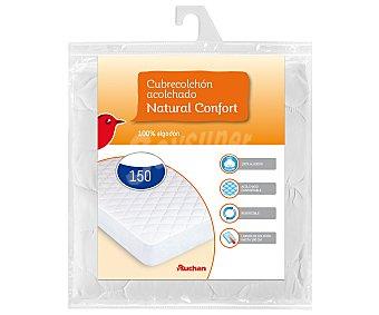 Auchan Cubre colchón acolchado 100% algodón para camas de 150x190 centímetros 1 unidad