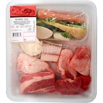 VERDURAS Preparado para caldo con morcillo, hueso, tocino ibérico, pata de cerdo y peso aproximado Bandeja 850 g