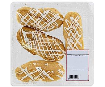 Pasteleria Eclairs rellenos de crema de vainilla 4 unidades 260 gramos 4u 300g
