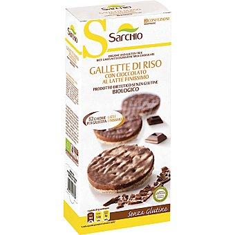 SARCHIO Tortitas de arroz con chocolate con leche ecológicas y sin gluten envase 100 g