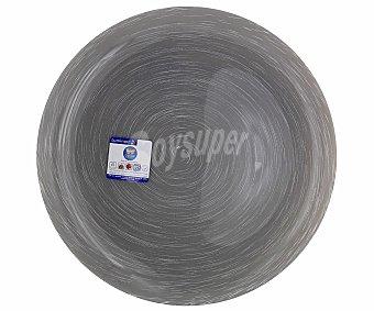 LUMINARC Plato llano modelo Stonemania de 25 centímetros, fabricado en vidrio templado de color gris y moderno diseño de lineas en espiral 1 Unidad