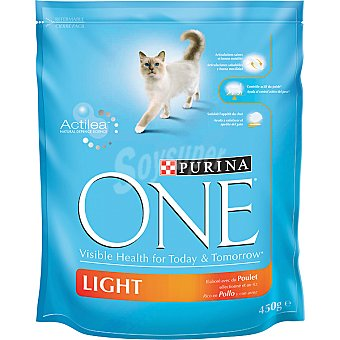 PURINA ONE LIGHT alimento especial para gatos rico en pollo con arroz  bolsa 1,5 kg