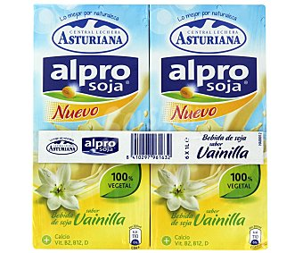 Alpro Asturiana Bebida soja sabor vainilla 6 Unidades de 1 Litro