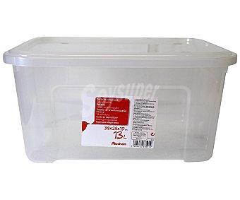 AUCHAN Caja de ordenación con tapa, capacidad de 13 litros, fabricada en plástico transpartente, 37,7x27,7x18,8 centímetros 1 Unidad