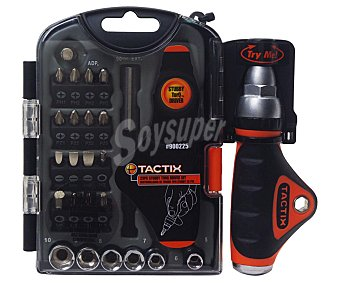 TACTIX Set de mini destornillador con mango especial para realizar más fuerza con menor esfuerzo +25 puntas, CRV 1 unidad