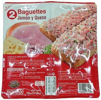 Hacendado Baguette congelado jamon queso Paquete de 2 unidades