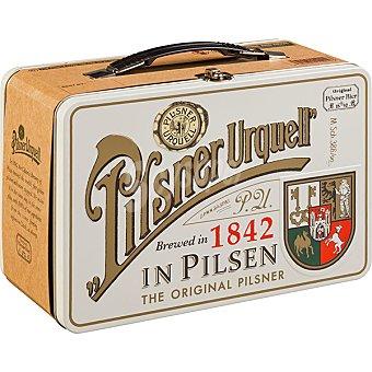 Pilsner Urquell cerveza rubia importación checa Pack Vintage 4 latas 50 cl con maletín (Modelos surtidos según existencias) Pack 4 latas 50 cl